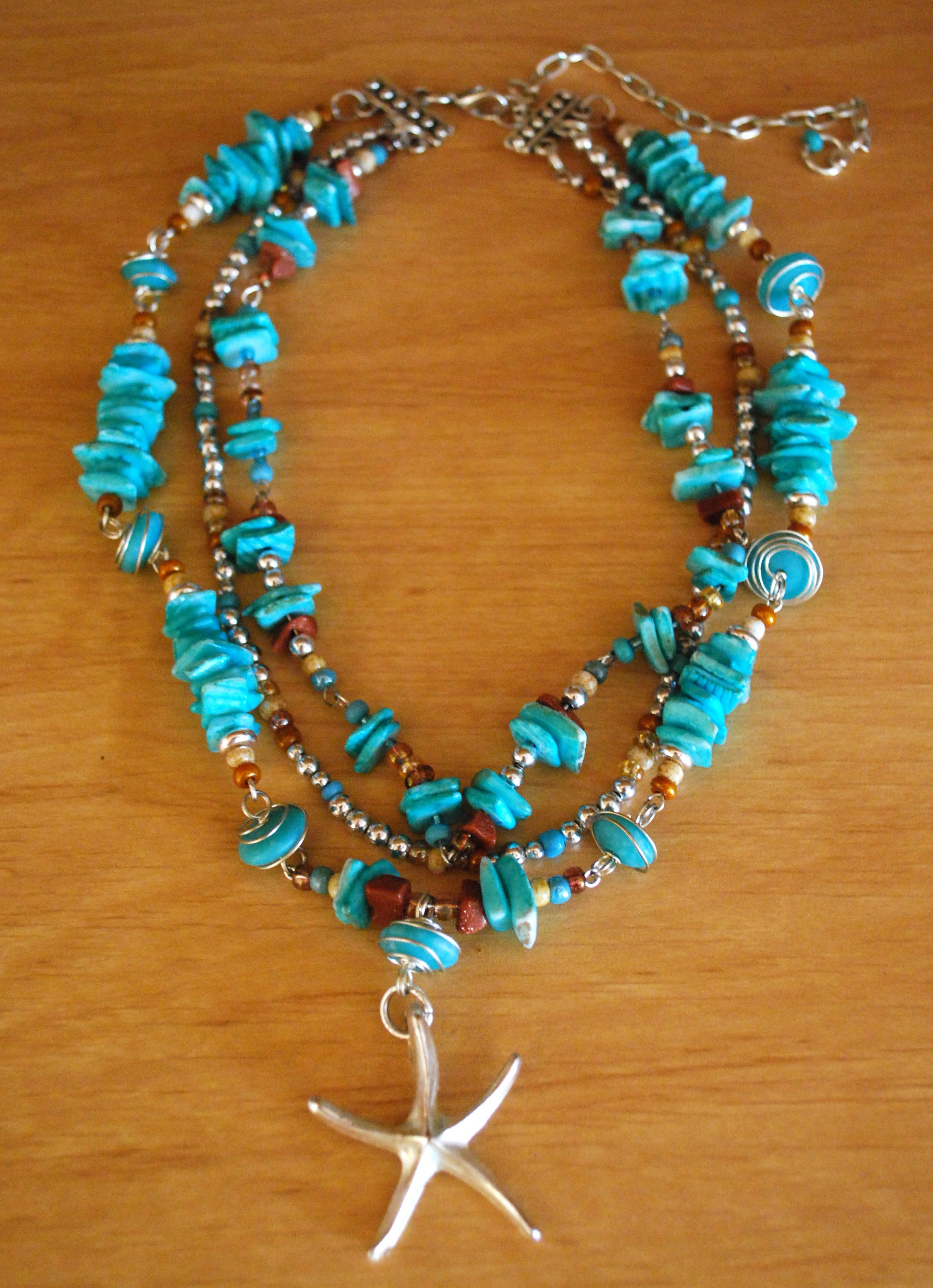 with stranded beads rose layer maroon bead turquoise glass double jewelry necklace beaded handmade buy products online