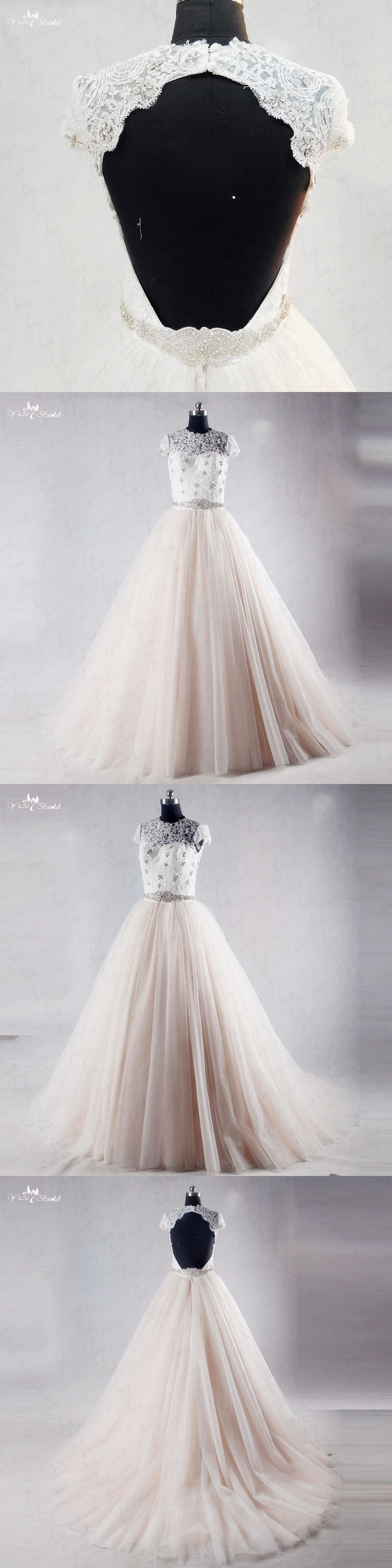 RSW1033 Puffy Tulle Skirt Cap Sleeves O Neckline Mocha Colored Backless  Wedding Dress 42f441d0bef8
