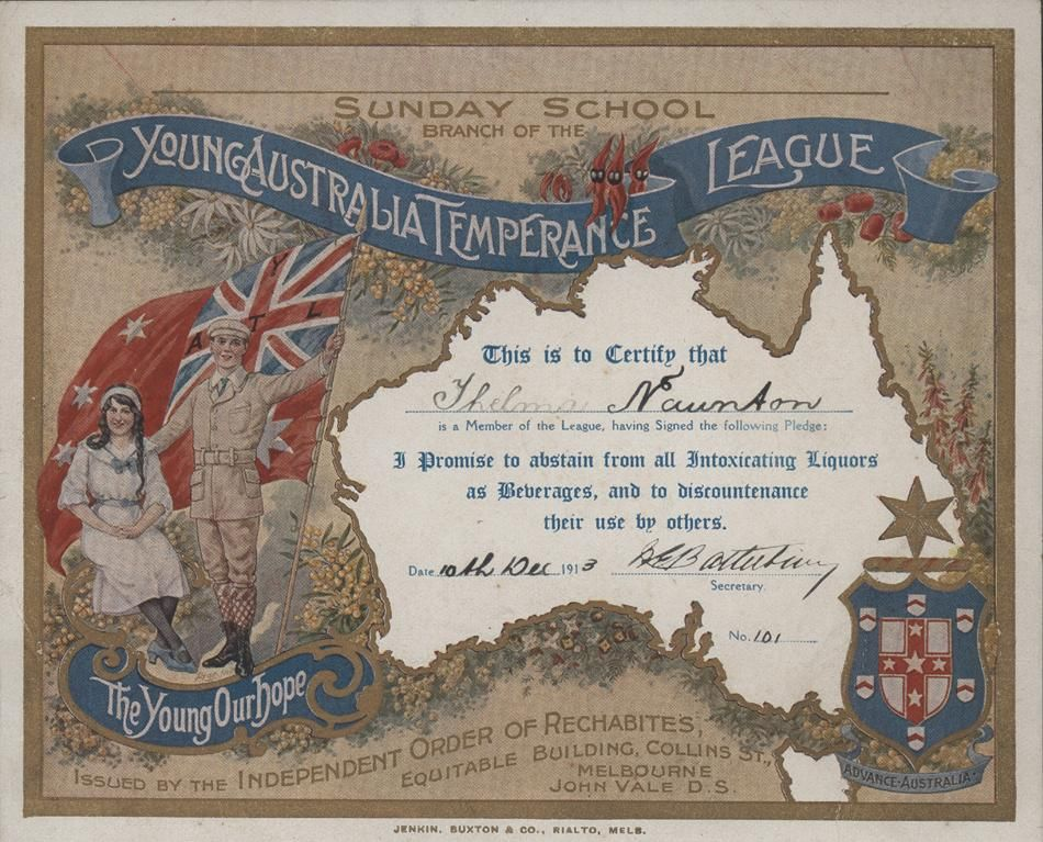 Young Australia Map.Young Australia Temperance League Certificate 1913 Thelma