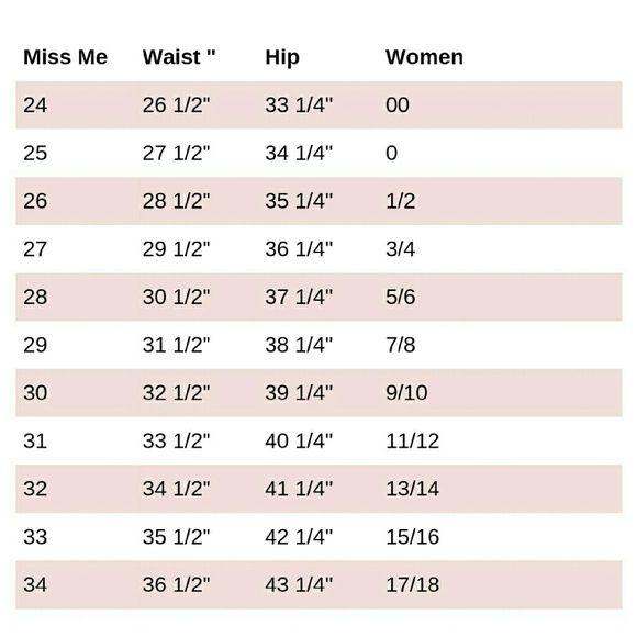 Miss Me Size Chart Miss Me Size Chart Miss Me Jeans  My Posh