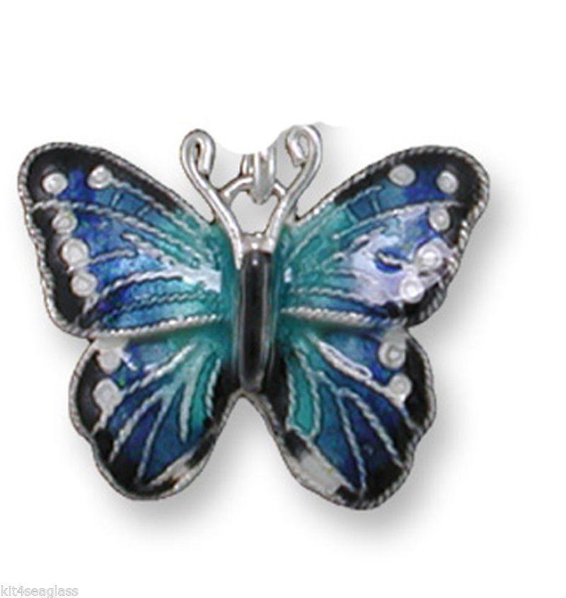 Zarah Zarlite BLUE MORPHO Butterfly CHARM Sterling SILVER PLATED Enamel boxed