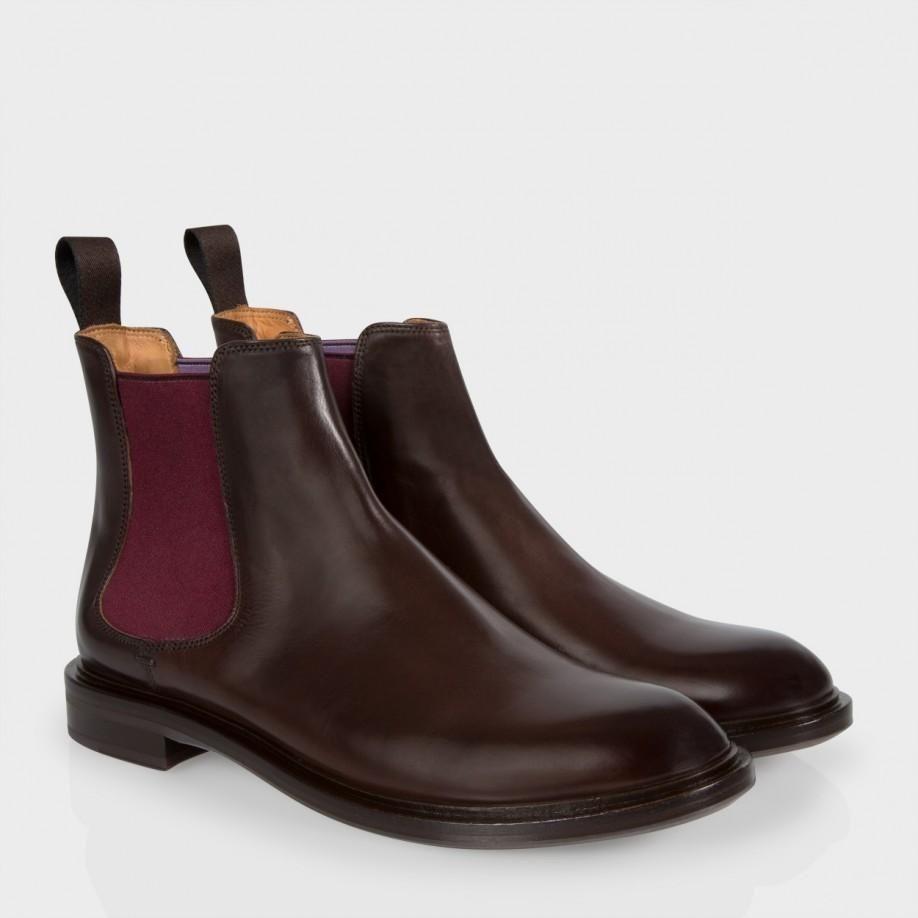 Chaussures Paul Smith Femme   Bottines Chelsea Jefferson En Cuir De Parme Marron  Foncé 1a52b4692f83
