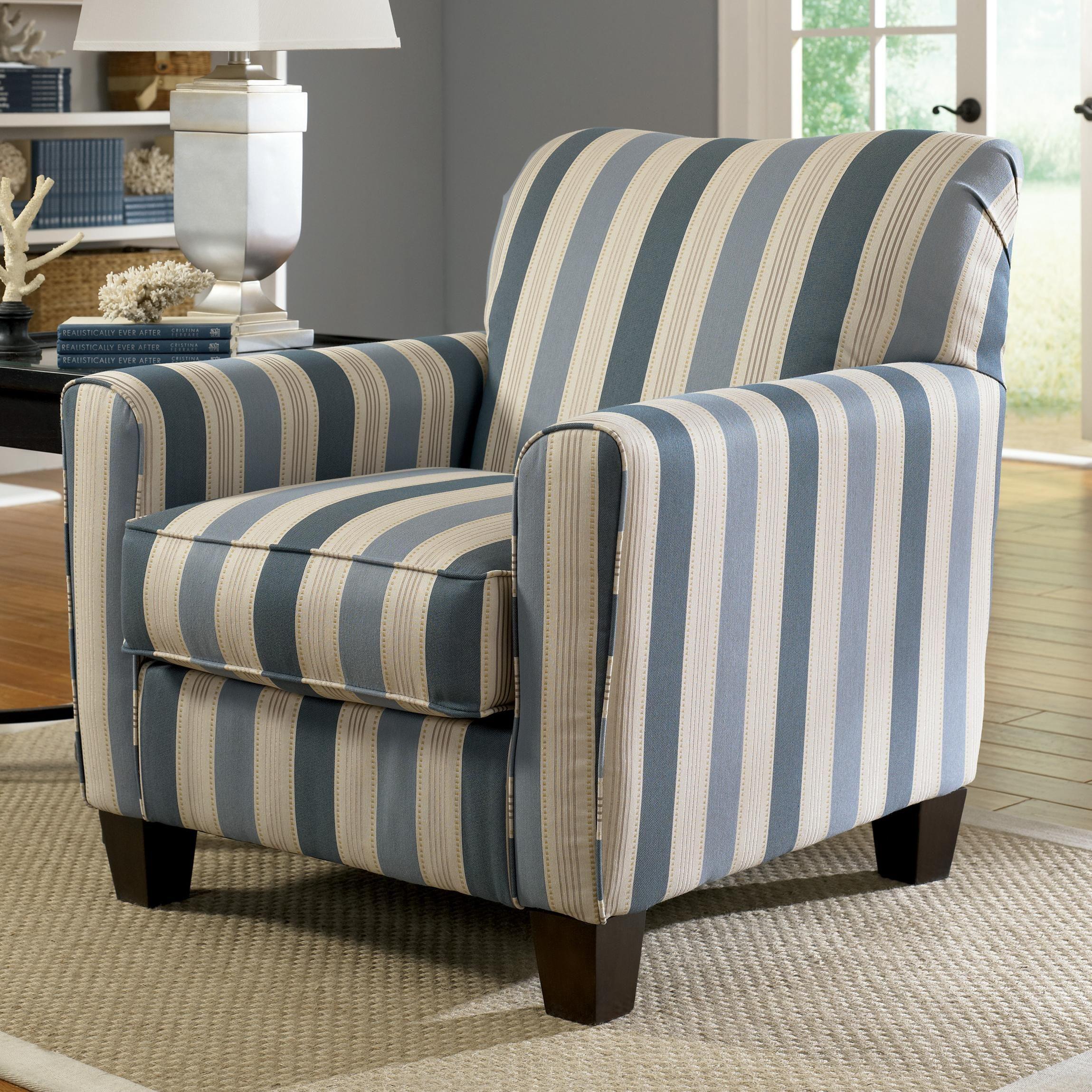 Best Addison Blue Stripe Accent Chair With Exposed Wood Feet 400 x 300