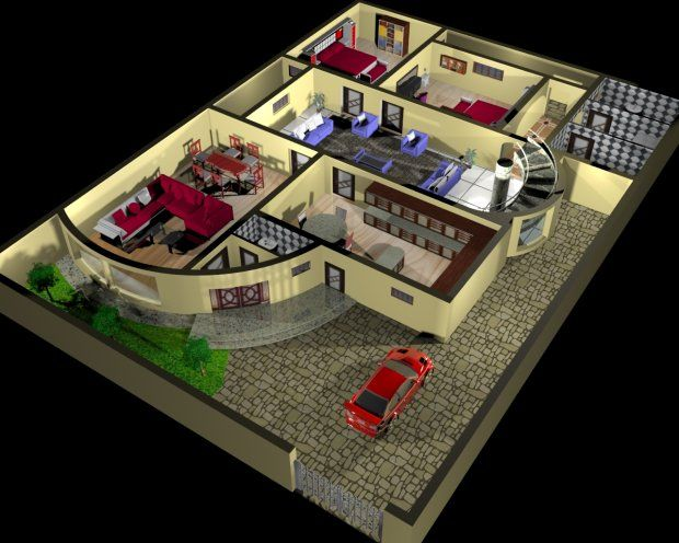 House Plan And Interior Design 3d 3d Model Free