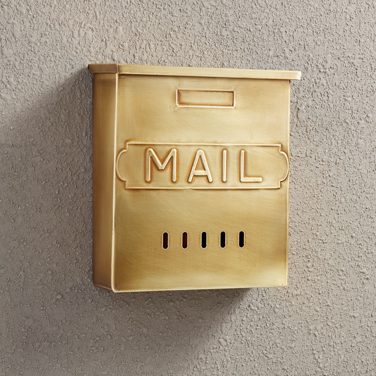 Vertical Mail Wall Mount Brass Mailbox In Antique Brass Signature Hardware Wall Mount Mailbox Signature Hardware Wall Mount