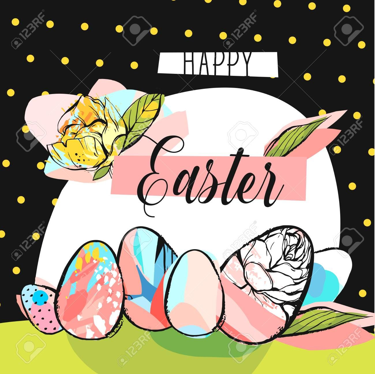 Hand Drawn Vector Abstract Creative Happy Easter Greeting Card Design Template With Painted E Happy Easter Greetings Greeting Card Design Easter Greeting Cards