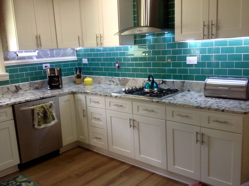 Subway Tile Backsplash Kitchen Ideas With Granite, Open Shelving, Around  Window #pattern Almond