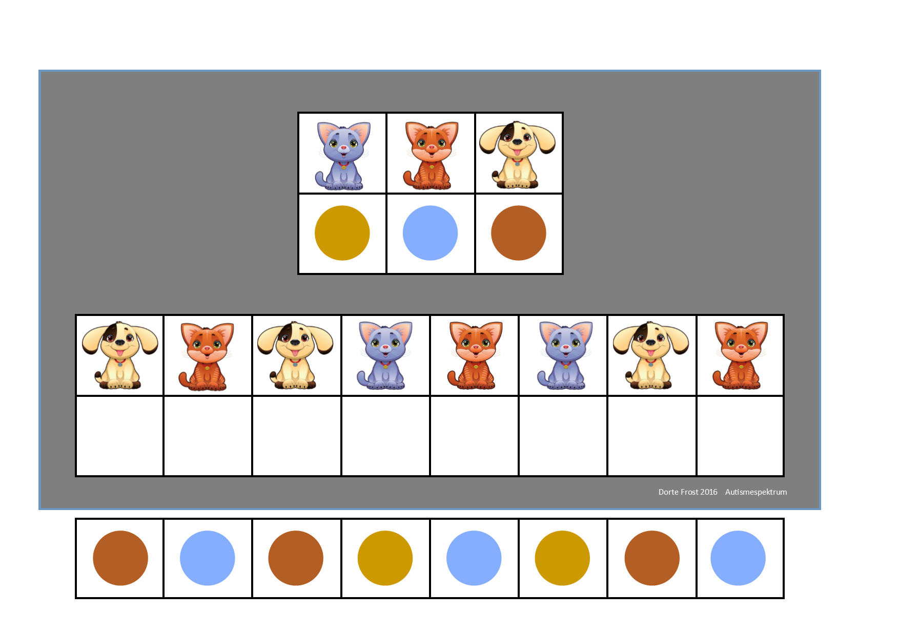 Board And Tiles For The 3 Pets Visual Perception Game By