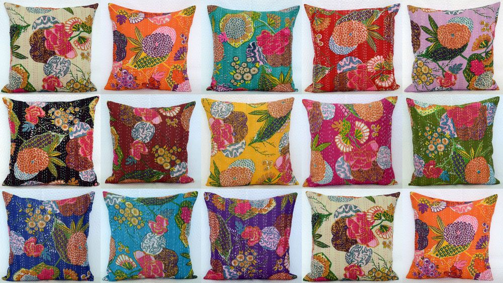 Multi Colors Kantha Dot Pillow Cover