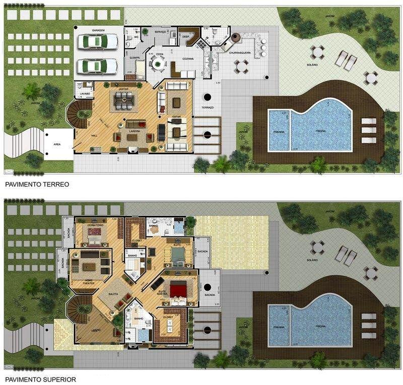 Projeto de Sobrado de 3 quartos com 379,10m² Projetos de casas e - plan de maison moderne 3d