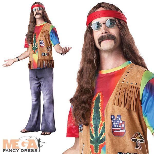 Standard Adults Mens Fancy Dress Long Hippie Vest Costume Chest Size 42