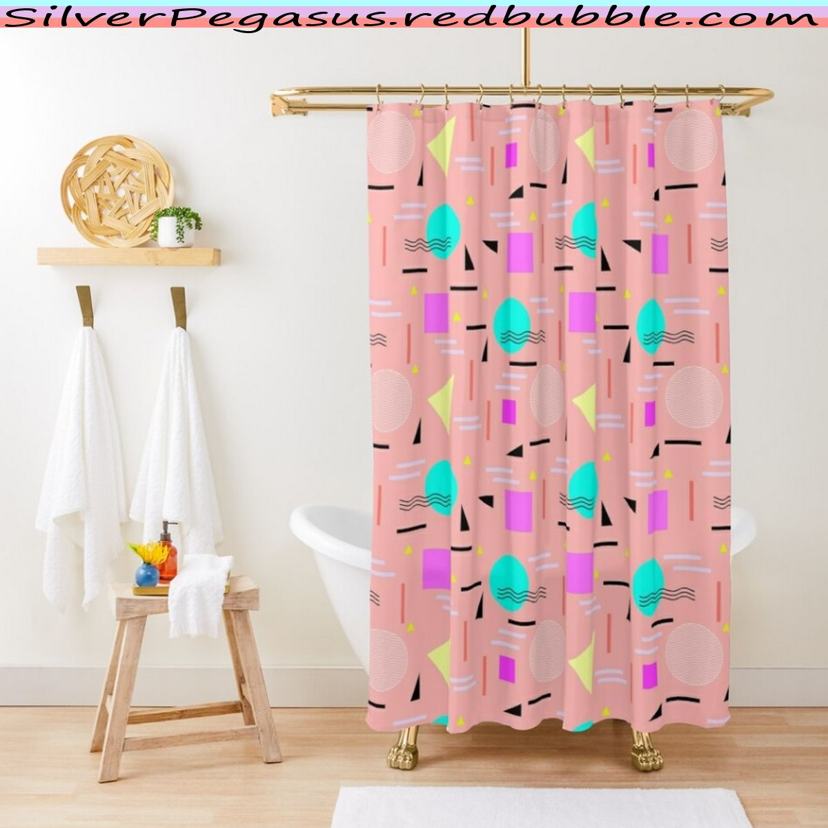 Memphis Forever Peach Shower Curtain By Silverpegasus In 2020