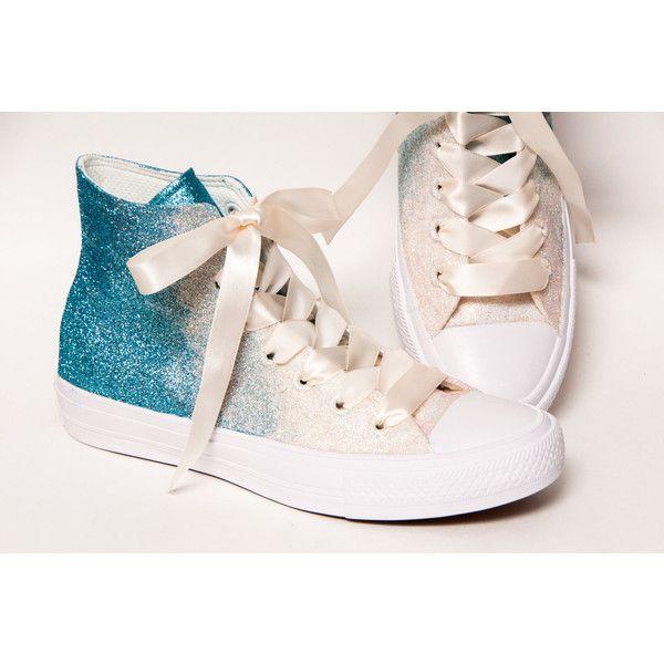 Glitter Ombre Two Tone Malibu Blue to Ivory Converse Ii Hi Top... ( 434873f86