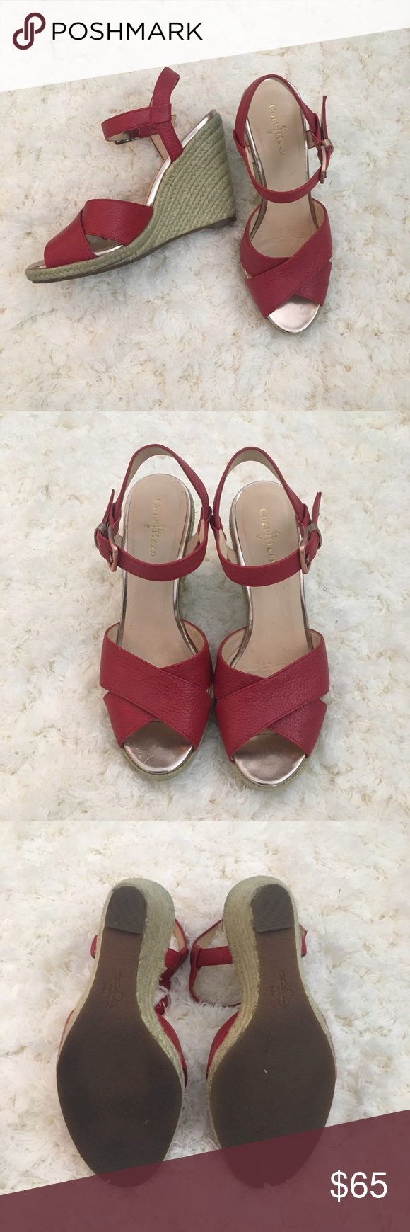 Red Wedges Braided wedge. Great condition! Heel is about 4.5 inches Cole Haan Shoes Wedges