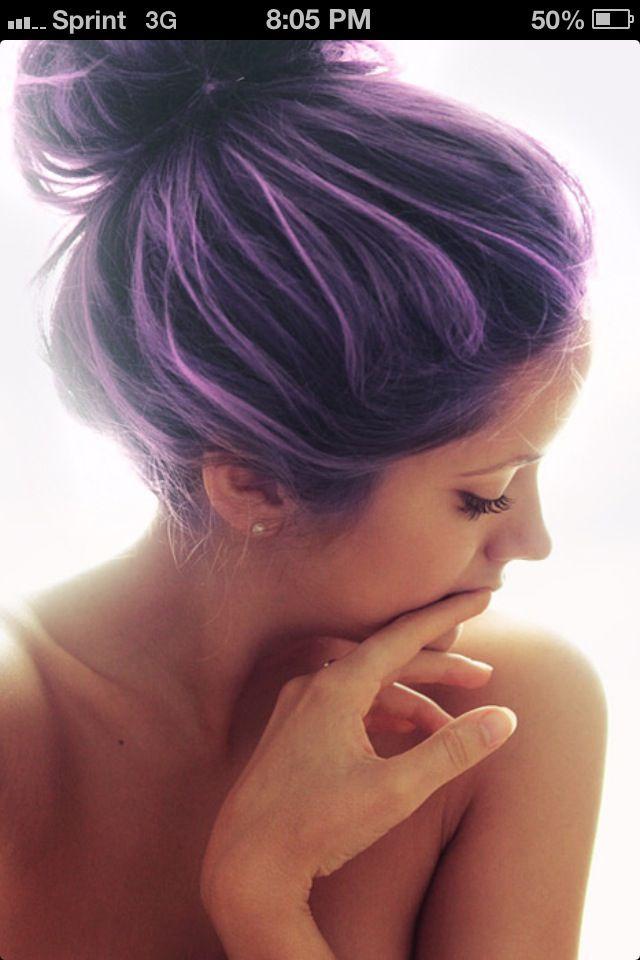 Lavender lilac highlights with dark hair hair color pinterest lavender lilac highlights with dark hair solutioingenieria Images