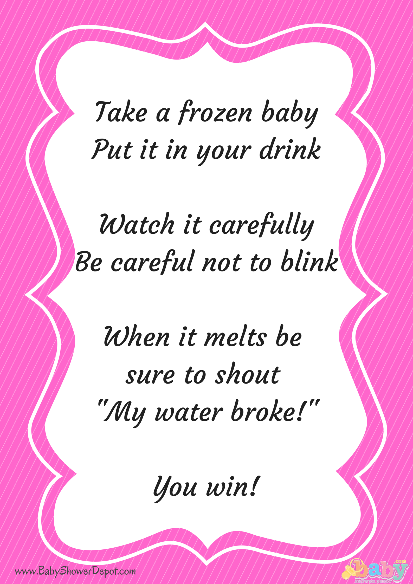 Free Printable My Water Broke Instructions Crafts Baby Shower
