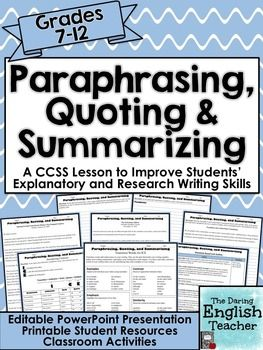 Paraphrasing Quoting And Summarizing Common Core Writing Social Studie Lesson Plan Student Resources Plans
