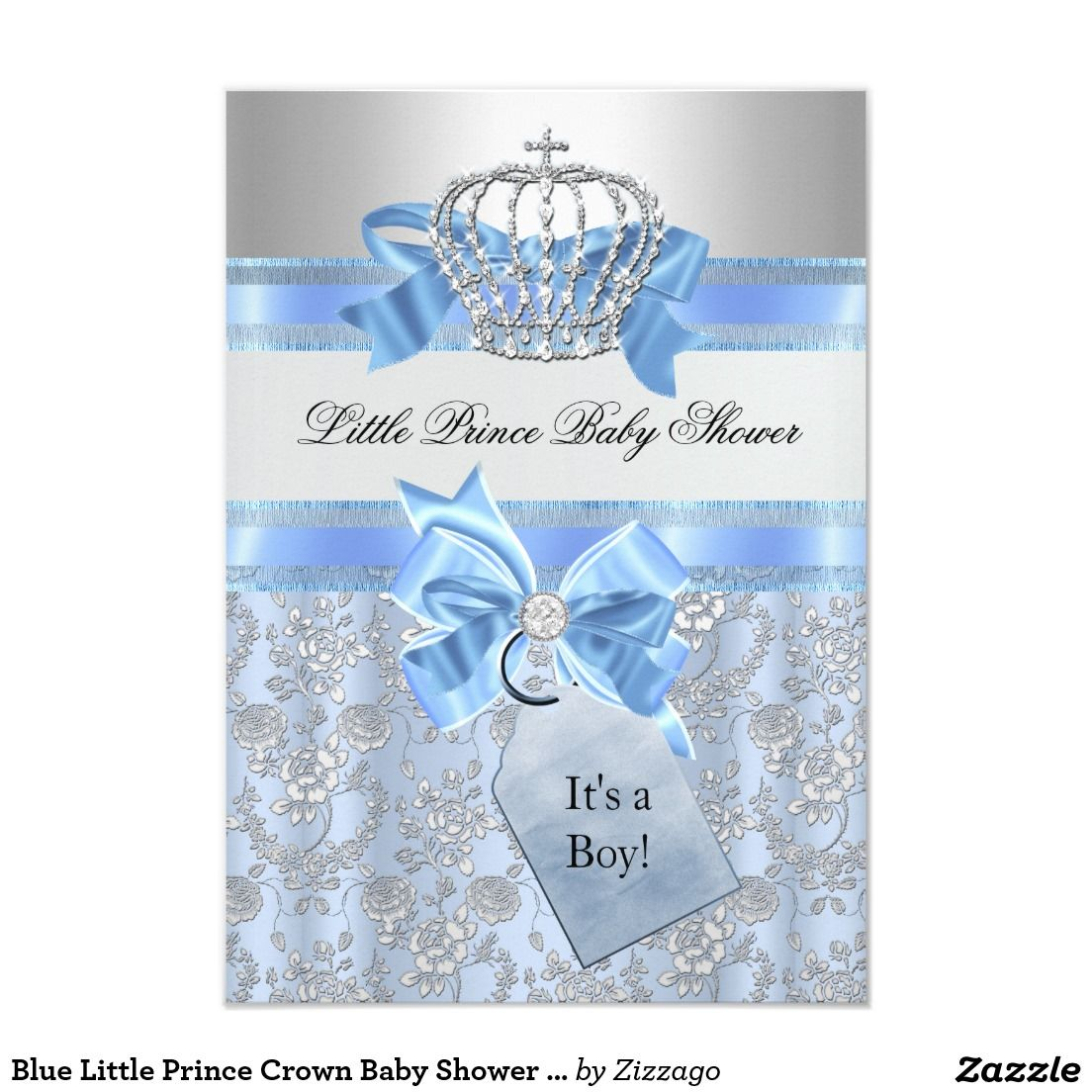 Blue Little Prince Crown Baby Shower Invitation | Baby Stuff ...