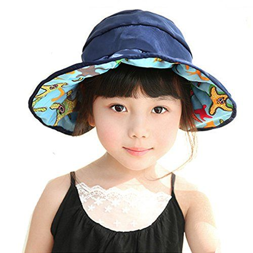 CORRAL Children Girls Cute Cotton Sunhat Foldable Wide Brim Sun Visor  Cycling Travel Beach Cap bd0e20c0b17e