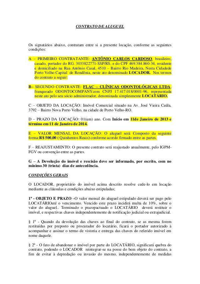 Modelo De Contrato De Aluguel De Imovel Tattoo Design Bild