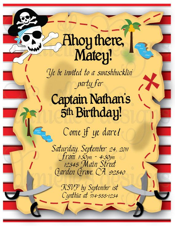 Pirate Themed Birthday Party Invitations With Envelopes Treasure