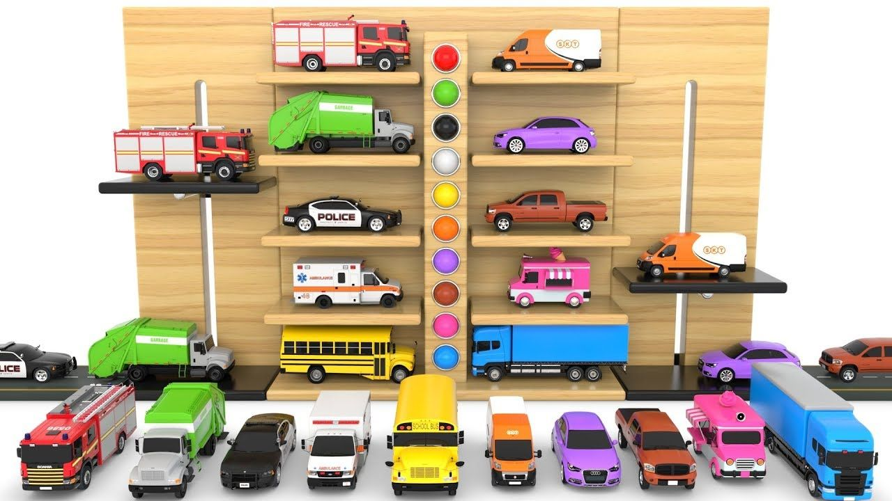 Learn Colors With Multi Level Parking Toy Street Vehicles Educational Videos Cars For Kids Learning Colors Educational Videos Toy Street