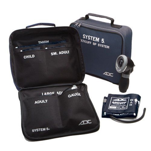 ADC MULTIKUF 740 Portable Palm Aneroid Sphygmomanomerter Kit with 5 Cuffs, Navy (13-66 cm) ** Click image for more details.