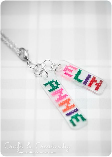 Shrink Plastic Jewellery - by Craft & Creativity using free Costura cross stitch font from Font Squirrel