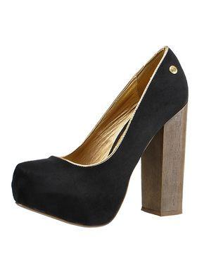 Polbuty Na Grubym Obcasie Blink Shade 701221 Black Damskie Polbuty Blink Heels Peep Toe Shoes