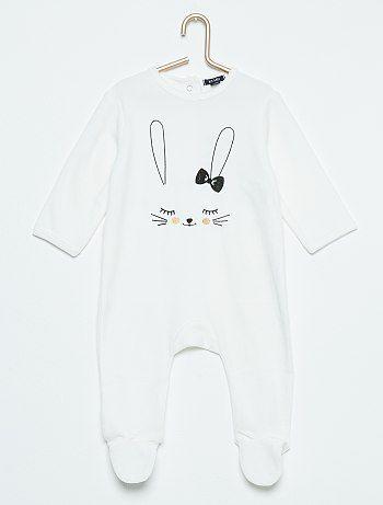 nuovo stile 96da4 eea4e Pigiama ciniglia stampa 'coniglio' bianco Neonata - Kiabi ...