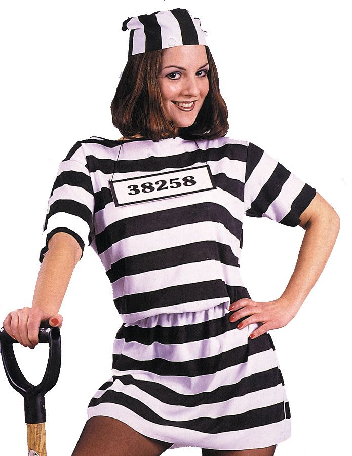 PRISONER OF LOVE LADY FANCY DRESS CONVICT HALLOWEEN ADULT WOMAN COSTUME REDUCED