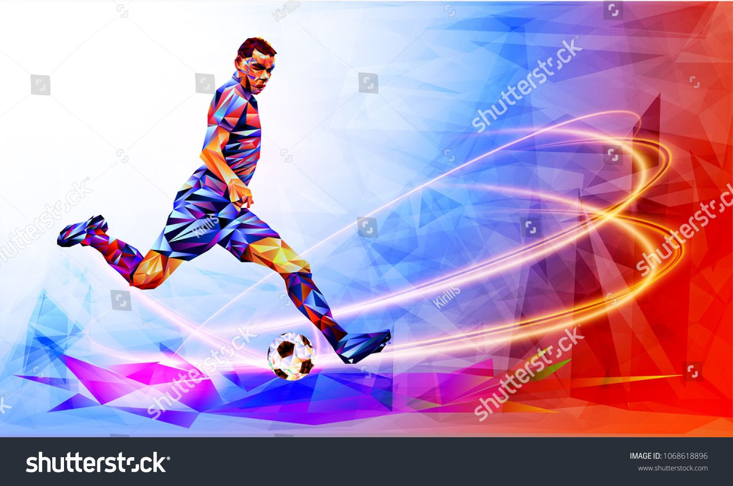 Soccer Player Against The Background Of The Stadium Football Player In Full Color Vector Illustration In Triangula Soccer Players Color Vector Football Players