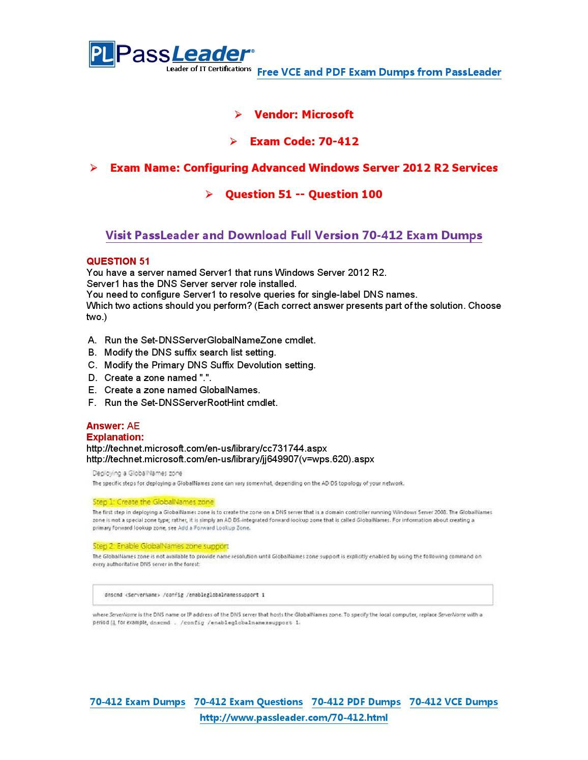 70 412 Exam Dumps With Pdf And Vce Download 51 100 70 412 Exam