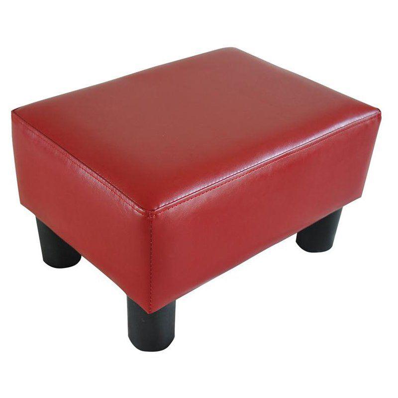 Homcom Modern Small Faux Leather Ottoman Footrest Stool