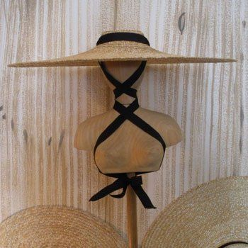 48036153943 Traditional French straw hat worn by lavender harvesters.  adore the way it  is tied )