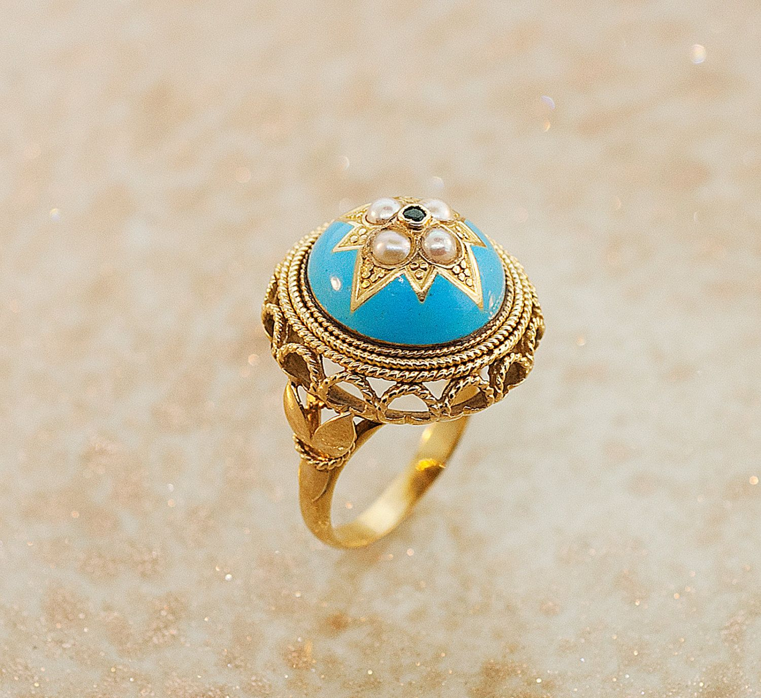 Antique Enamel Ring w/ Gold, Emerald and Pearls