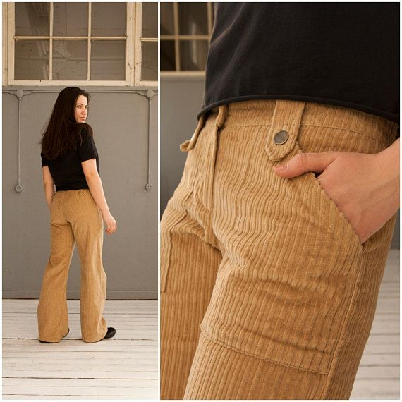 70s Corduroy Pants Low Rise Cords Womens Small Wide Leg Mens Trousers