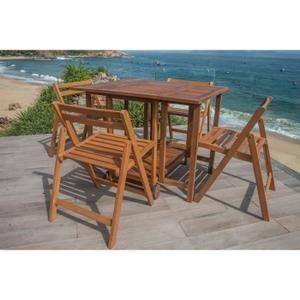 FINLANDEK Ensemble table de jardin carrée + 4 chaises pliantes en ...