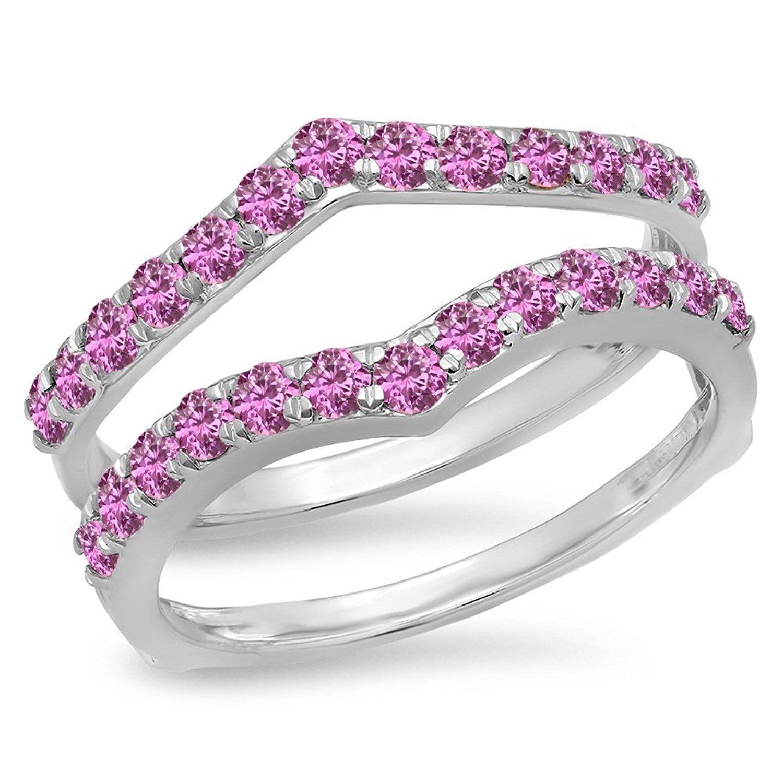 0 95 Carat ctw 14K Gold Round Pink Sapphire Anniversary Wedding