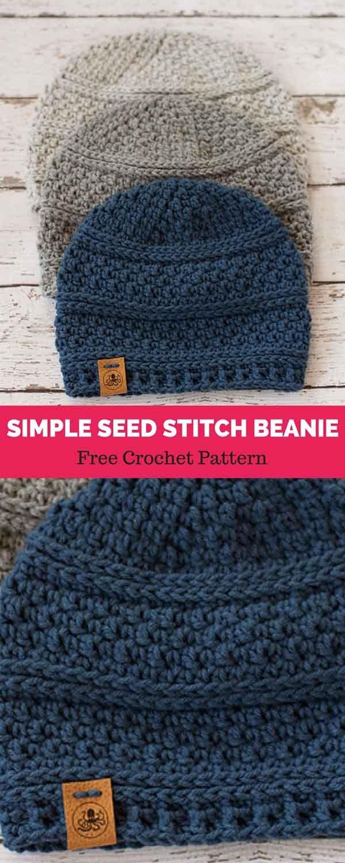 Simple Seed Stitch Beanie [ FREE CROCHET PATTERN #menscrochetedhats