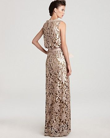 Tadashi Shoji Gown - Waist Tie Sequin Lace   Bloomingdale\'s   Tadshi ...