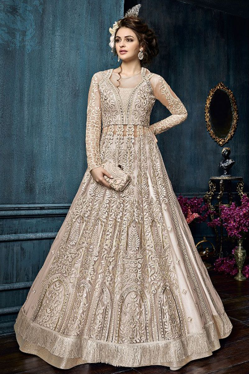 81438faed5 Cream Color Beautiful Embroidered Net Fabric Traditional Designer Wear  Party Style Festive Fashion Attractive Wear Gown