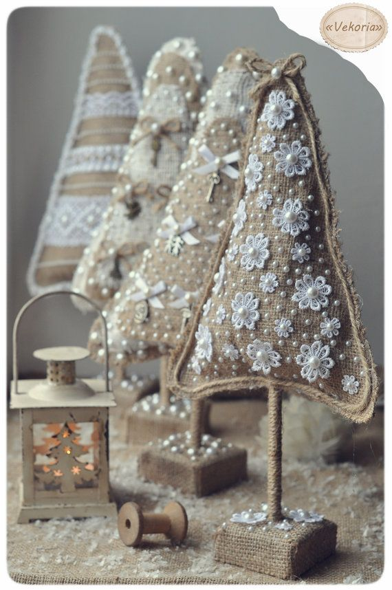 Home Decor Christmas Tree Burlap With Lace Ooak Home By Artwithice Burlap Lace Pinterest