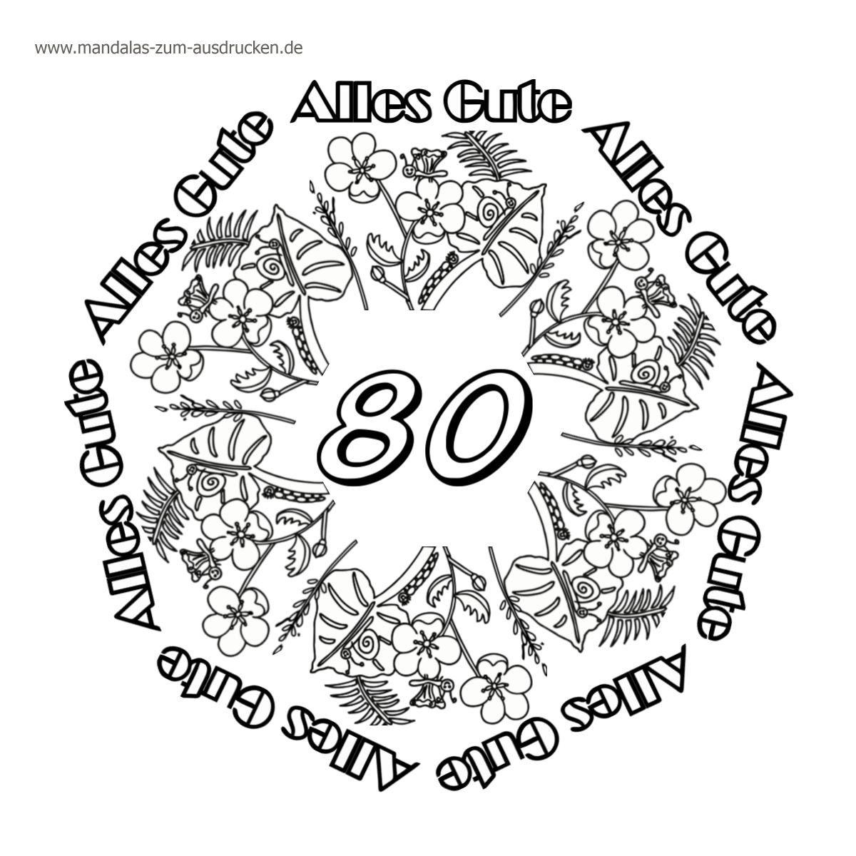 Gratis Mandalas Happy Birthday 80 zur Downloadseite