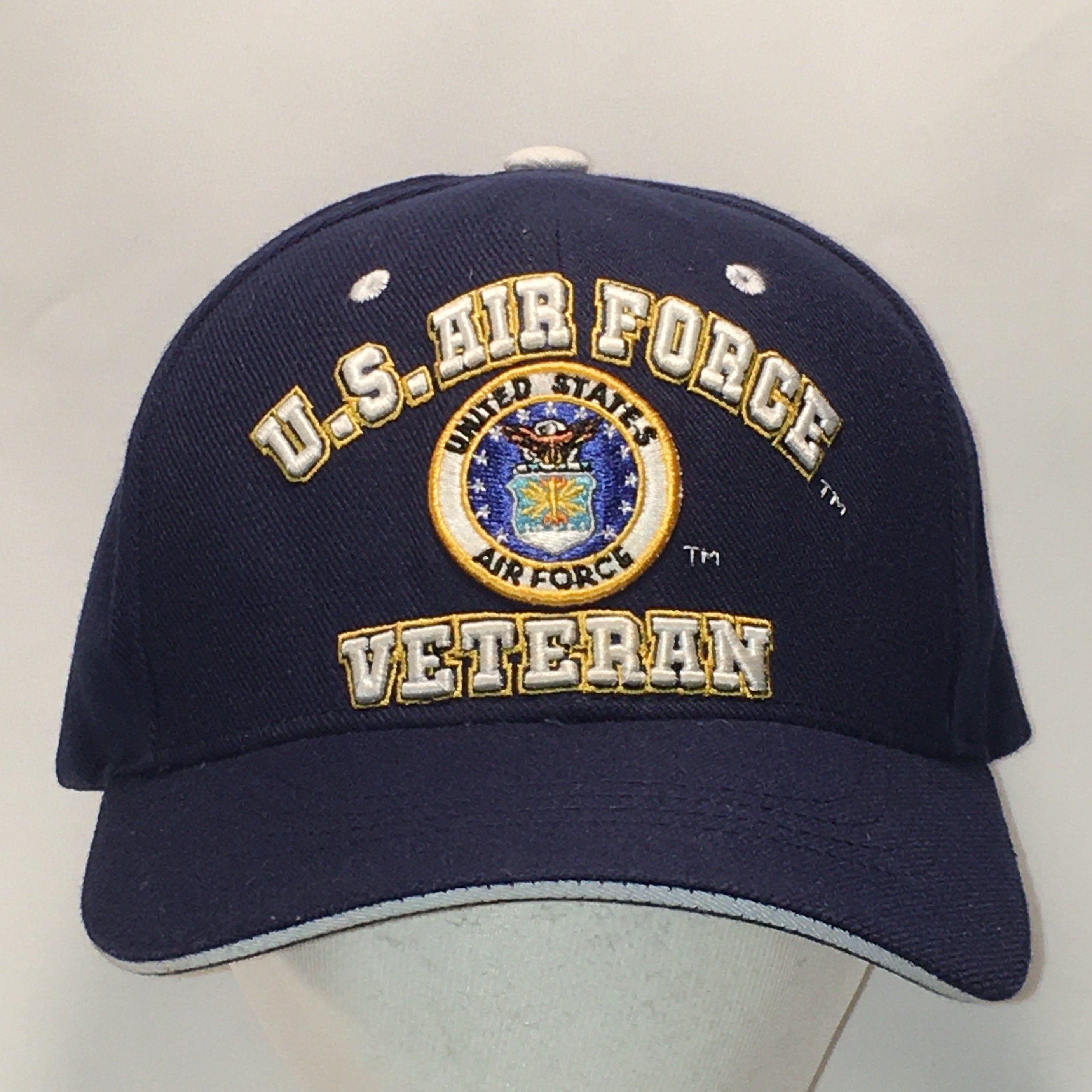 US Air Force Veteran Hat Navy Blue Baseball Cap Military