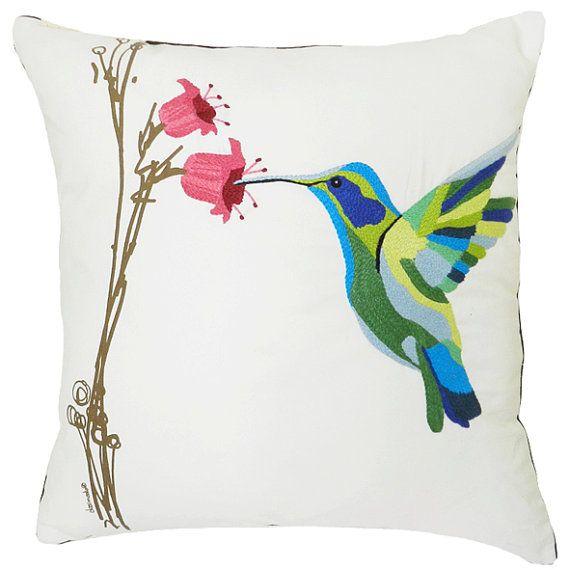 Forro para cojín bordado con pájaro colibrí bordado a por DOSIMEDIO ...
