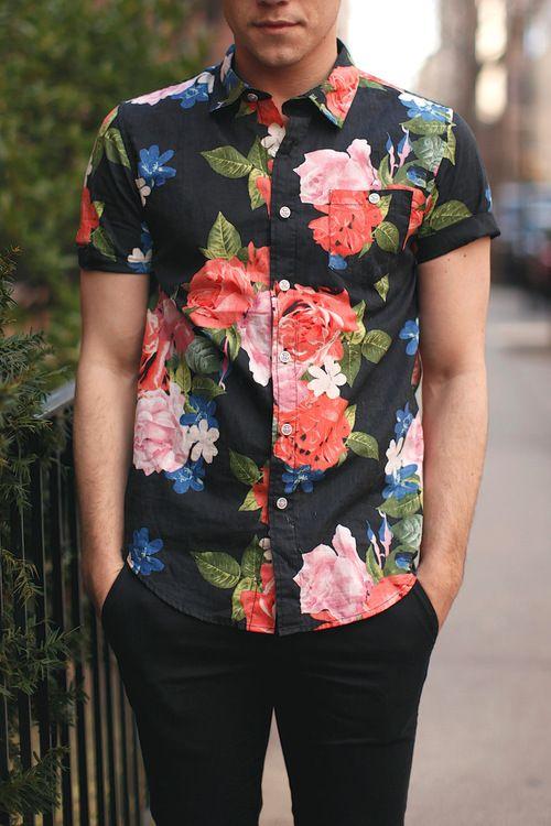 Awesome Shirt. Flowers. Black & Black. Street. Hip. Pattern. Men. Fashion. Summer. #menswear #mensstyle