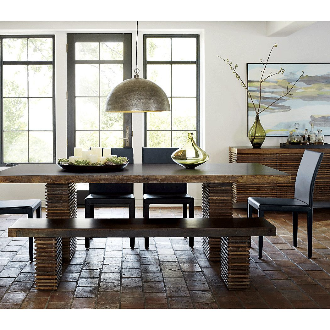 Paloma Dining Table Bench Crate Barrel Metal Dining Room