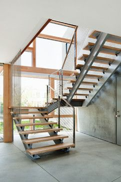 Steel Stairs Design Ideas Pictures Remodel And Decor Page 2 | Staircase Design Steel And Wood | Angle Bar Stair | U Shaped Stair | Simple | Wooden Step | Open