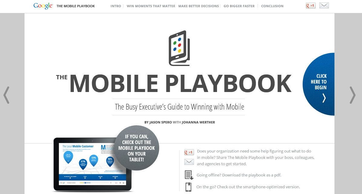 Mobile Playbook, Google's guide to winning with mobile.   http://www.themobileplaybook.com/